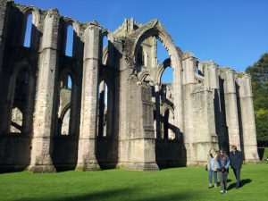 Ruins of Fountains Abbey, Yorkshire in the winter sunshine