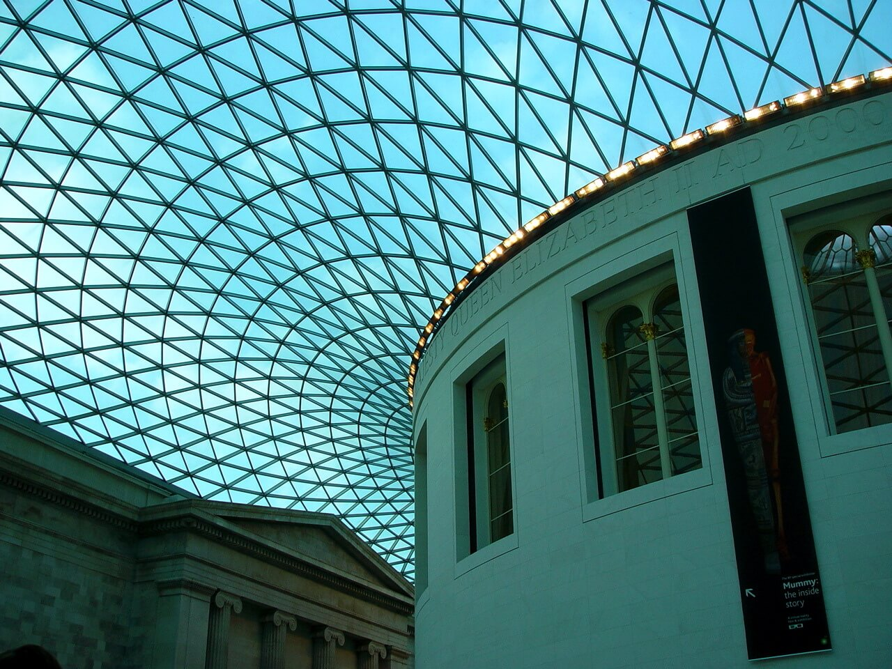 View of glass roof over the Great Court at the British Museum