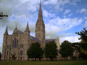 View of Salisbury Cathedral and spire