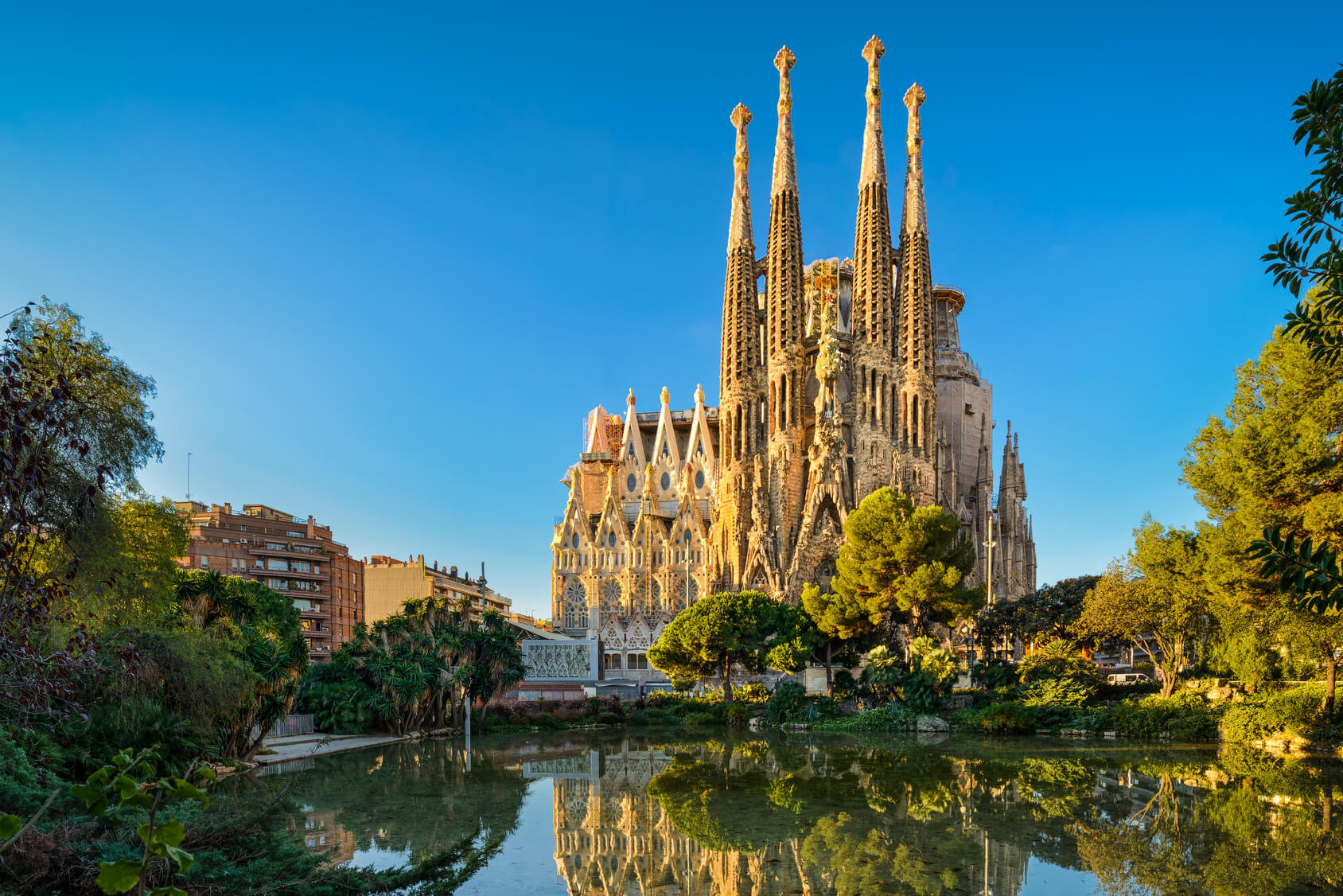 Sagrada Familia cathedral in sunlight