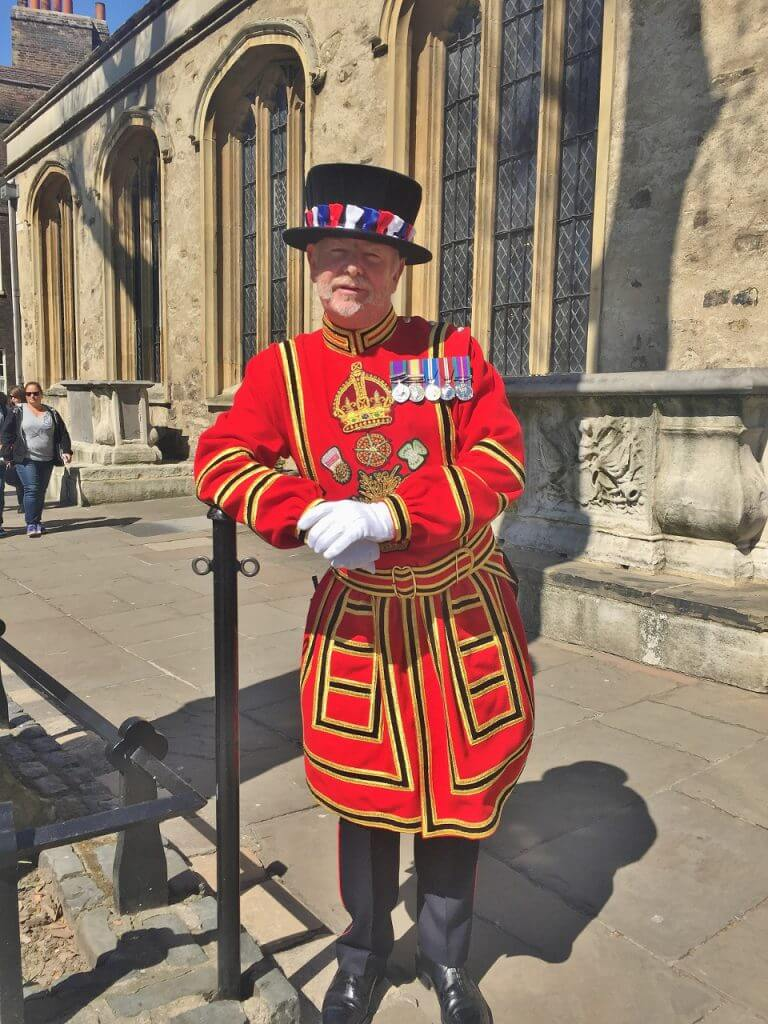 Yeoman Warder in dress uniform in the Tower of London